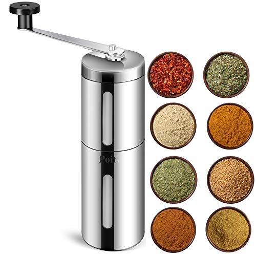 Poit Portable Manual Spice Herb Grinder for Beans, Pepper and Spice Herb, Silver