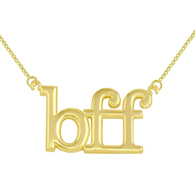 Amazoncom Fine 10k Yellow Gold Bff Best Friends Forever Necklace
