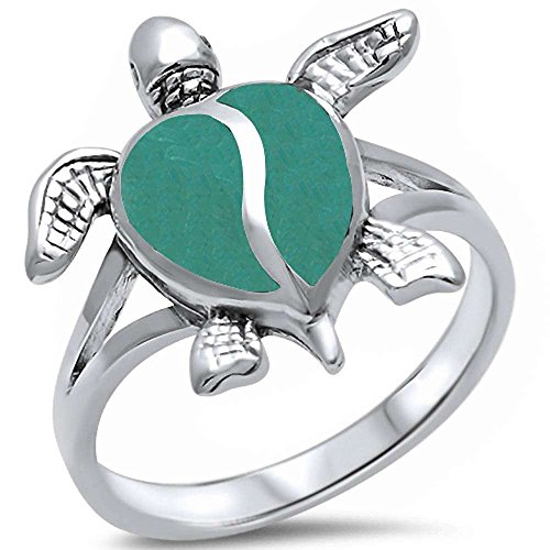 - Oxford Diamond Co Green Turquoise Turtle .925 Sterling Silver Ring Sizes 8