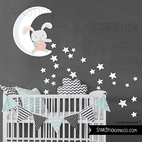Peque/ño 130x60 cm T1 Vinilo para beb/é Luna gris y estrellas de colores Luna llena con estrellas