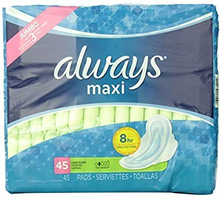 Amazon.com: Always Maxi Unscented Pads with Wings, Long/Super, 45 Count by Always: Health & Personal Care