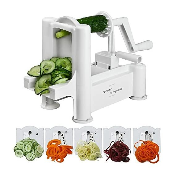 Veggiespize B10 5 Blade Spiral Slicer 1 Works on various vegetables & fruits Make veggie noodles 5-Blade Spiralizer.