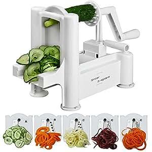5 Blade Spiralizer - Spiral Slicer, Vegetable Maker, Shredder ! Makes Zucchini Noodles, Veggie Spaghetti, Pasta, and Cut Vegetables in Minutes. Includes Blade Storage Box!