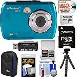 Polaroid iS048 Waterproof Digital Camera (Teal) 32GB Card + Case + Tripod + Cleaning Kit