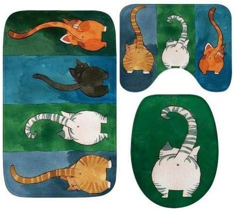 WHZJXB-ZYP 3枚の3D猫目黒便座カバー蓋黒WCアクセサリーの漫画かわいいバスマットの装飾防水非スリップカーペットラグ (色 : 2)