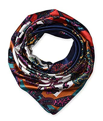 Designer Satin Women's Big Square Neck Scarf Headscarfs Ethnic Floral Navy by corciova
