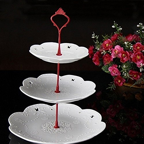 Fuente para pasteles de tres pisos, de pie, con asa, para decoración de la mesa en bodas, diseño de corona, acero inoxidable, Plateado, Medium: Amazon.es: ...