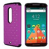 Motorola Droid Maxx 2 Case, CoverON® [Aurora Series] Cute Rhinestone Bling Studded Hybrid Diamond Cover Skin Phone Case For Motorola Droid Maxx 2 / Moto X Play - Purple & Black
