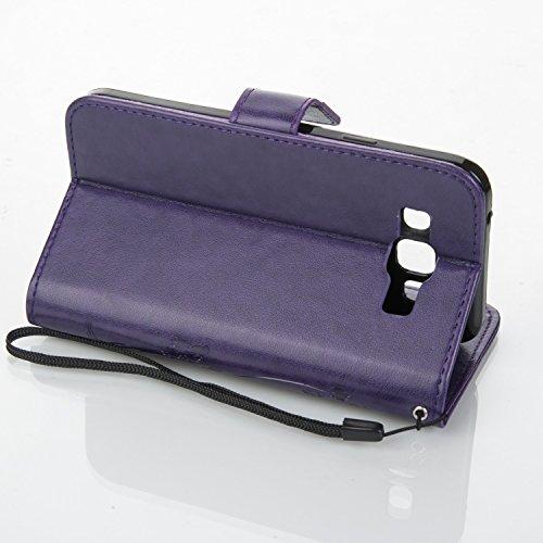 JIALUN-Personality teléfono shell Funda Galaxy S5 de Samsung Galaxy E5, estuche retro de folio con caja de folletos y correa de mano Funda Protecitve Shell para Samsung Galaxy E5 Seguridad y Moda ( Co Purple