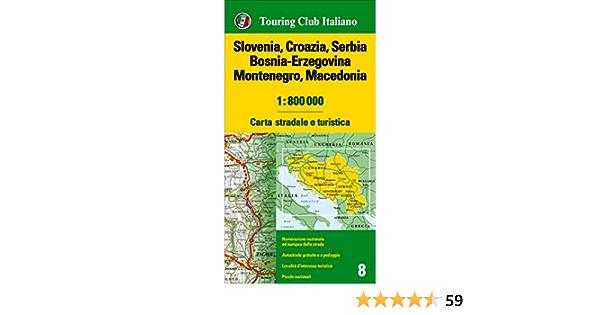 Croazia E Slovenia Cartina Geografica.Slovenia Croazia Serbia Bosnia Erzegovina Montenegro Macedonia 1 800 000 Carta Stradale E Turistica 9788836571635 Amazon Com Books