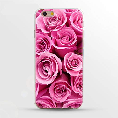 MISC Pink Rose Themed iPhone 5 Case Fuchsia Flower 5S Cover 5 SE Bouquet Girly Floral Beauty Fragrant Garden Plant Nature Pretty Cute Collage Soft, TPU