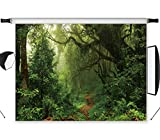 LB Jungle Forest Backdrops for Photography 7X5ft Vinyl Green Rainforest Background Kids Baby Shower Birthday Party Portraits Photo Booth Backdrop