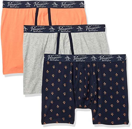 (Original Penguin Men's Cotton Stretch Boxer Brief Underwear, Multipack, Light/PERS/SKYCPT - 3 Pack, Large )