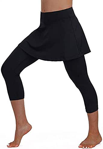 F_Gotal Tennis Skirted Leggings Women with Pockets Capris Skorts Leggings with Skirts& Women Tennis Clothing Black