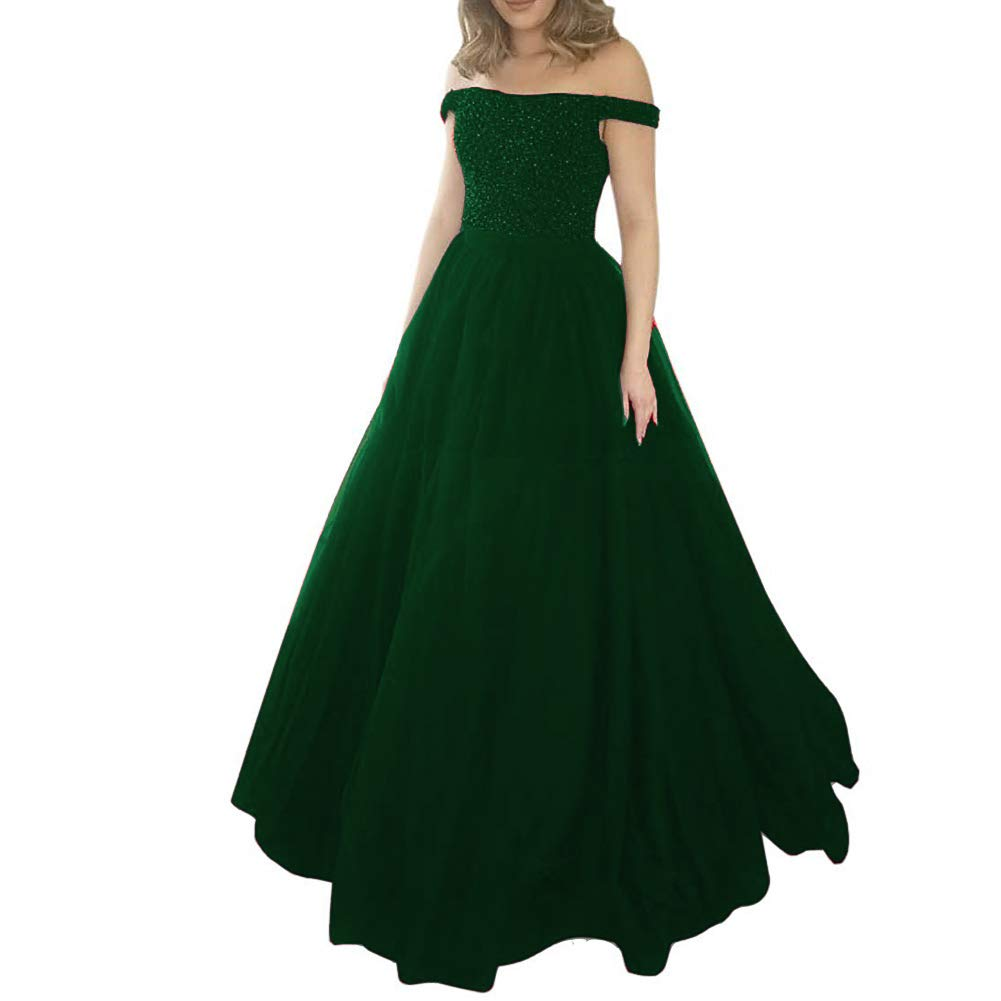 Emerald Green Kivary Heavy Beaded Off The Shoulder Formal Long Tulle A Line Evening Prom Dress