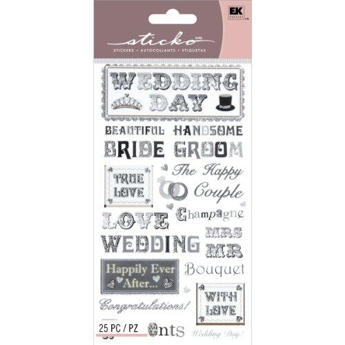 EK Success Brands Decorative Sticko Stickers, Tie Phrases, Black