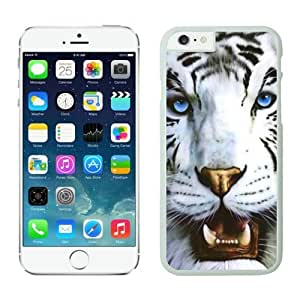 Iphone 6 Case 4.7 Inches, Cool Beast Animal White Silicone TPU Soft Iphone 6 Protective Case Cover White Tiger and Blue Eyes