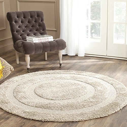 Safavieh Shadow Box Shag Collection SG454-1313 Beige Round Area Rug (4' Diameter) Cotton Border Jute