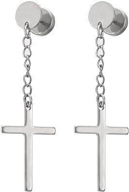 2 Círculo Pendientes con Colgantes Cruz Pendientes Hombres Mujer ...