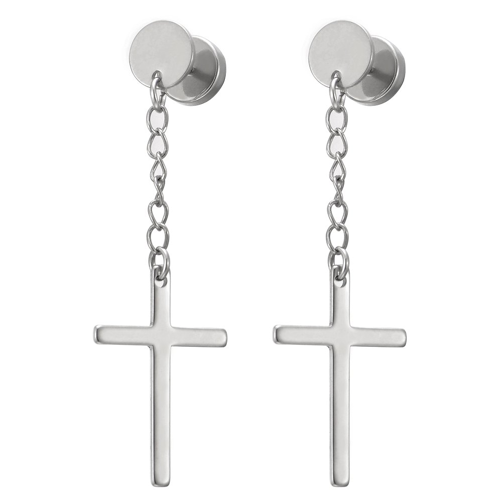 Pair Circle Screw Stud Earrings with Dangle Cross for Men Women Boys, Stainless Steel, Screw Back(CA) COOLSTEELANDBEYOND ME-1077-CA