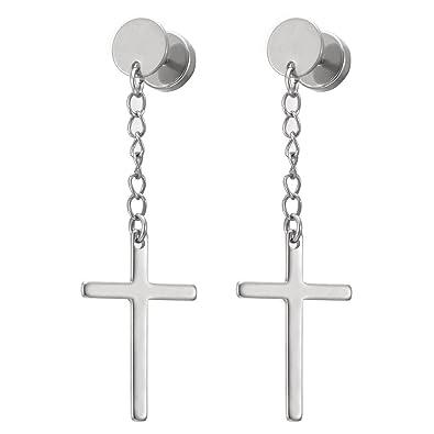 b3c03ccbe05b6 Pair Circle Screw Stud Earrings with Dangle Cross for Men Women Boys,  Stainless Steel, Screw Back