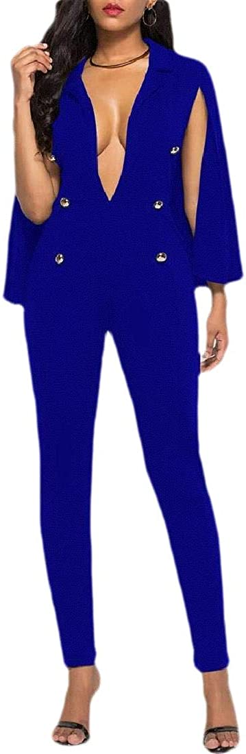 Hajotrawa Women Round Neck Long Sleeve Casual Playsuit Jumpsuits with Pockets