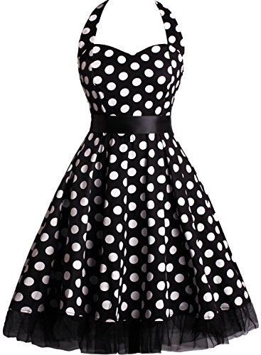 [OTEN Women's Floral Vintage 1950s Halter Rockabilly Gown Cocktail Party Dress] (Rockabilly Costumes)
