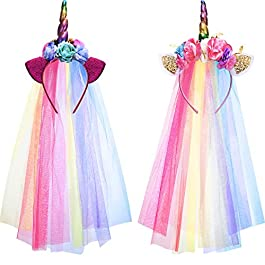 Boao 2 Pieces Rainbow Unicorn Headband with Colorful Tulle for Girls Teens Toddlers Children Party Hairbands (Style 1)