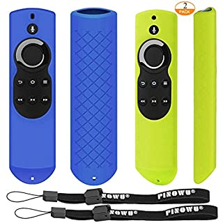 [2 Pack] Pinowu Silicone Anti-Slip Shockproof Cover Skin for Fire TV with 4K Alexa Voice Remote (2017 Edition 2nd Gen) / Fire TV Stick Alexa Voice Remote 5.9inch (Blue + Green)