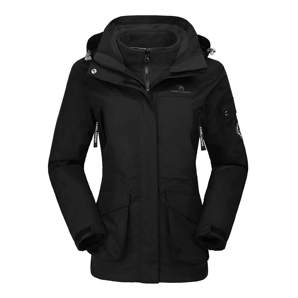 CAMEL CROWN Womens Waterproof Ski Jacket 3-in-1 Windbreaker Winter Coat Fleece Inner for Rain Snow Outdoor Hiking, Black, X-Large by CAMEL CROWN