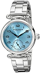 Akribos XXIV Women's AK806SSBU Quartz Movement Watch with Light Blue Dial and Stainless Steel Bracelet
