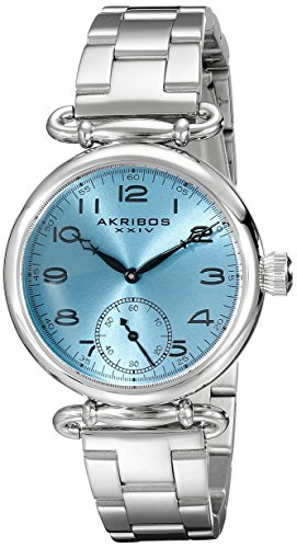 Akribos XXIV Women's AK806SSBU Quartz Movement Watch with Light Blue Dial and Stainless Steel Bracelet