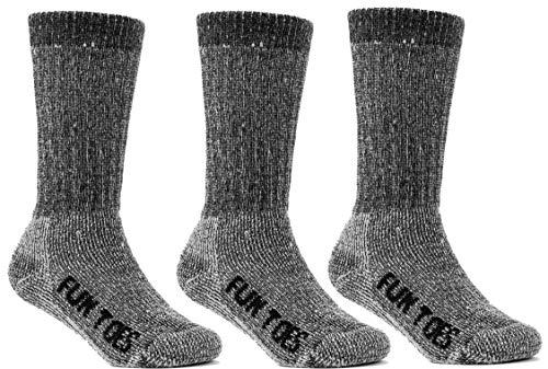 (FUN TOES Children's 80% Thermal Merino Wool Socks 3 Pairs Mid Weight For Winter Ski Sport (Black, 6-8 Small))