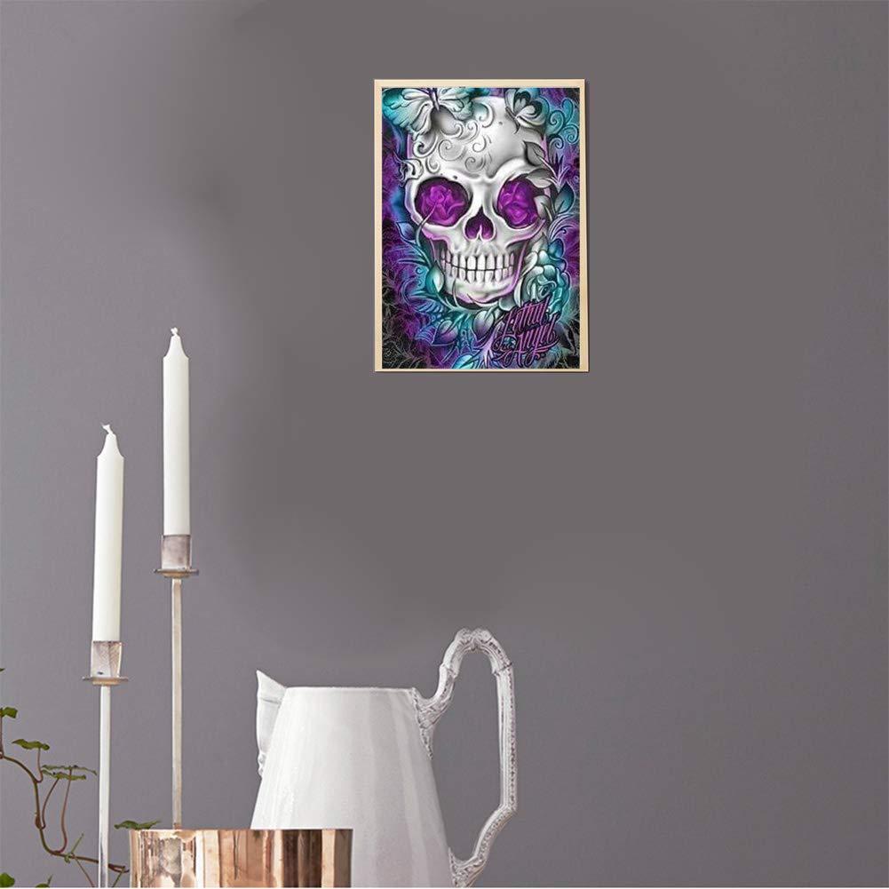 d/écoration dint/érieur t/ête de mort 30 x 40 cm peinture au point de croix broderie compl/ète motif papillon INOYS Kit de peinture diamant 5D par num/éro