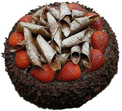 Handgemachte & Naturgetreue Imitation/Lebensmittelattrappe - Große Schokoladen Torte mit Erdbeeren - Durchmesser: 22cm / Höhe: 10cm