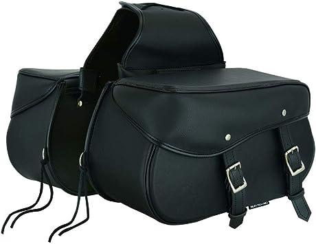 777-Black Motorcycle Leather Saddle bag,Waterproof Storage Box Motorbike Equipment Storage Organizer Seat pack Saddle bag Black