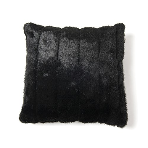 Best Home Fashion Faux Fur Pillow - Insert Not Included - Black Mink - 18