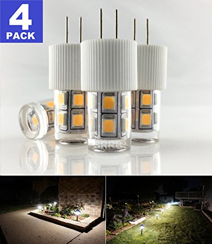SRRB Direct G4 Bi-Pin 12V AC/DC T3 Low Voltage LED Replacement Landscape Pathway Light Bulb for Malibu Paradise Moonrays and more (4 Pack, Warm White)