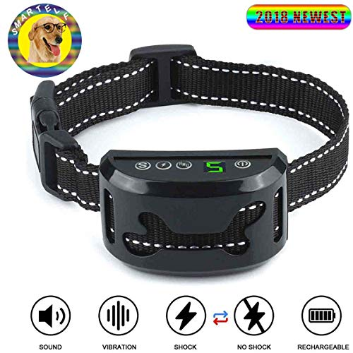 - smartelf Humane Bark Collar for Dogs Anti-Barking Training Harmless Dog Collar Upgraded Smart Beeps/Vibration/Shock Mode,Waterproof and Rechargeable Dogs Stop Barking Collars