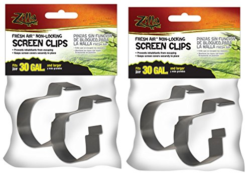 Reptile Cover ((4 Pack) Zilla Reptile Terrarium Covers Non-Locking Screen Clips, 30G+)