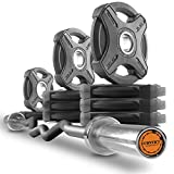 XMark Convict 6' Rackable Olympic EZ Curl Bar with Signature 65 lb. Olympic Plate Weight Sets, Use with Any Squat Rack, Squat Stand, Olympic Bench, Bicep Curl and Triceps Bar Exercises