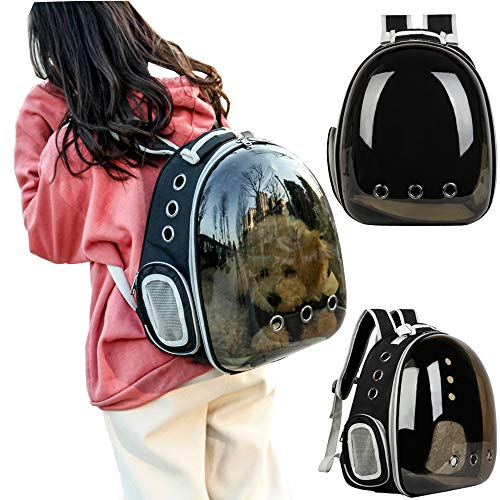 C&W Innovative Traveler Bubble Backpack Pet Carriers for Cats and Dogs Polarized Transparency Anti-Glare & UV Protection Waterproof Brown -