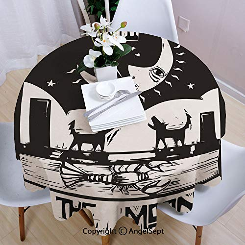 """AngelSept Fashion Round Tablecloth,Black and White Drawing Style Lobster Wolves Crescent Moon Stars Tarot Card Design Decorative,35"""" Round,for Indoor Outdoor Camping Picnic,Black White"""