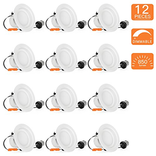 Shine HAI 4 inch Dimmable LED Downlight, 9W (65W Replacement), 5000K Daylight White, 850 Lumens, Retrofit LED Recessed Lighting Fixture, LED Ceiling Light, Recessed Downlight, 12-Pack