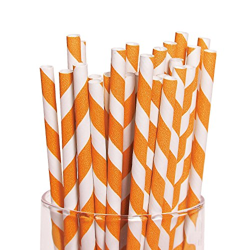 Orange Striped Paper Straws - 24 pcs