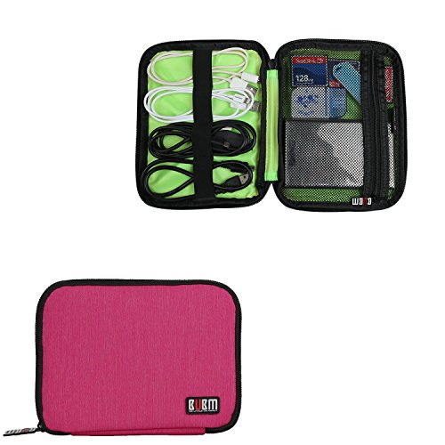 BUBM External Hard Drive Carry Case, Travel Electronics Accessories Organizer Case for USB Cable, SD Cards, Power Bank or Phone Accessories, (Mini, Rose Red) (Electronics Rose Cable Usb)