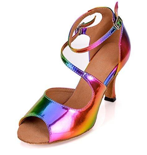 5cm Tanzschuhe 7 Damen Heel Multicolored Minitoo xFIS5fwUqU