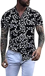 FEDULK Mens Summer Hawaiian Shirts Leopard Print Short Sleeve Baggy Beach Holiday T-Shirt Tee Blouse