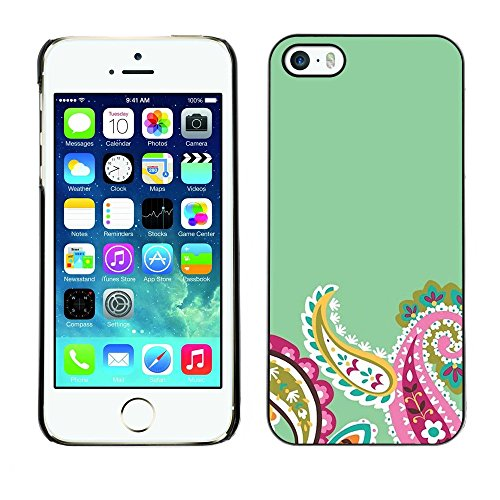 Soft Silicone Rubber Case Hard Cover Protective Accessory Compatible with Apple iPhone? 5 & 5S - petals minimalist teal flower
