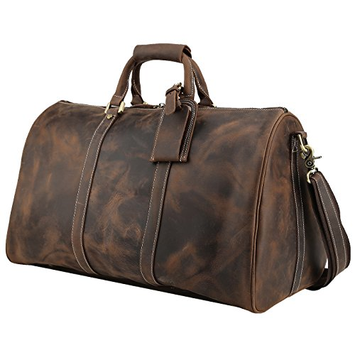 20 Inch Weekender - Polare Duffle Full Grain Leather Weekender Travel Duffel luggage Bag With YKK Zipper(Medium Brown(20